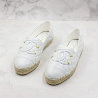 Fashion Brand Chain Women Casual White Leather Espadrilles Loafers Flats Shoes - Best Deal Online