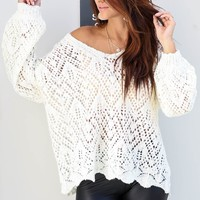 Thanks Anyway Cream Pointelle Knit Sweater