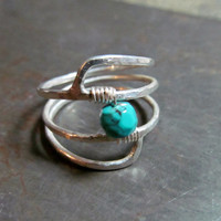 December // Sterling Silver Geometric Ring // Silver Turquoise Ring // Artisan Gemstone Jewelry // Genuine Turquoise Birthstone Ring