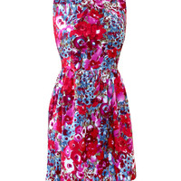 Ducks in a Row Aileen Red Floral Dress