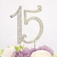 Sweet 15 Quinceanera Gold Crystal Rhinestone Cake Topper Birthday Party Favor