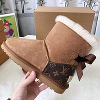 UGG x Louis Vuitton LV hot sale snow boots trendy simple plush hand-sewn, non-slip mid-tube plush boots fashion ladies bow snow boots Shoes