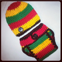 Rasta Baby Diaper Cover and Hat Set Perfect Photo Prop. Ready to Ship