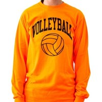 Neon Volleyball Long Sleeve T-shirt (Color/Size=Orange-X-Large)