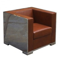 Glossy Armchair with Leather Upholstery - Living