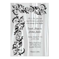 White Satin and Black Floral Wedding 5x7 Paper Invitation Card