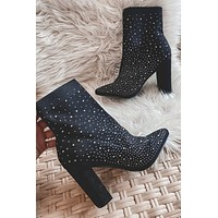 Inside Your Fairytale Black Rhinestone Booties