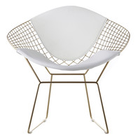 Chair In White Vegan Leather And Gold (Set Of Two)