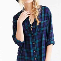 BDG Tartan Plaid Button-Down Shirt- Green Multi