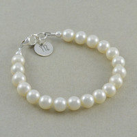 First Pearls, Baby Girl Bracelets, Childrens Monogram Bracelet, new baby girl gifts, her 1st jewelry child toddler initial letter disc, MILA