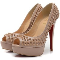 Christian Louboutin Fashion Edgy Rivets Red Sole Heels Shoes-13