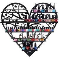 Black Metal Heart Shaped Bird & Tree Design 5 Tier Wall Mounted Salon Nail Polish Rack / Makeup Organizer