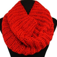Soft Warm and Cozy Thick Knit Red Infinty Scarf