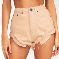 Sun's Out Blush Pink High-Waisted Denim Shorts
