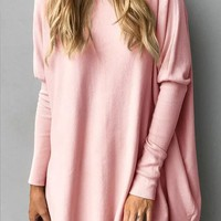 Pink Round Neck Long Sleeve Oversize Fashion Pullover Sweater