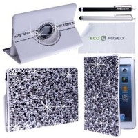 Eco-Fused Rotating Leather Case Bundle with Rhinestones for iPad Mini Case - including 2 Stylus Pens / 2 Screen Protectors / Microfiber Cleaning Cloth - Sparkling Detail, A Perfect Case for Girls