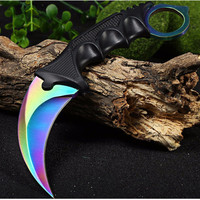 CSGO counter strike hawkbill tactical claw karambit neck knife real combat fight camp hike outdoor self defense offensive