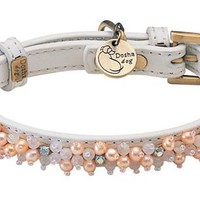 'Mini Beads' Pearl & Rose Quartz on White Leather Dog Collar