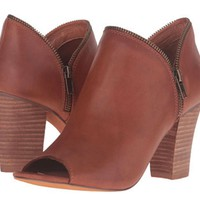 Sbicca Cognac Peacenik Zipper Trim Open Toe Booties