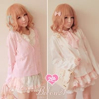 BOBON21 fall new cute pink pearl full three-dimensional cortical flowers knitted cardigan T0856-Taobao