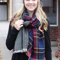 Berkley Reversible Plaid Wrap Scarf {Navy+Red Mix}
