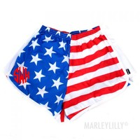 Monogrammed American Flag Running Shorts | Marleylilly