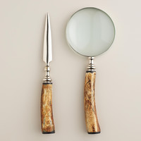 Silver and Bone Magnifying Glass and Letter Opener Set - World Market