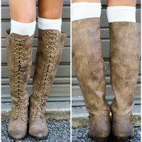 Very Volatile Clementine Tan Lace Up Riding Boot With Low Heel