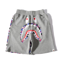 Bape Aape New fashion shorts male shark print men camouflage shorts Grey