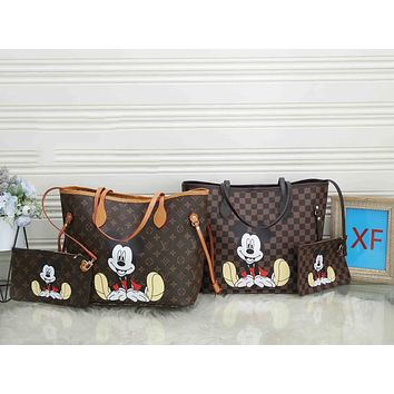 LV Fashion shopping bag: Mickey printed tote bag, one-shoulder bag, diagonal cross bag