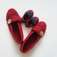 Mother's day Gifts / Mother and Son Booties Set / Red Slippers /  Gifts for new Moms