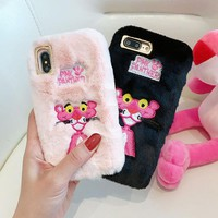 BINYEAE Embroidery Pink Panther Fluffy Fur Case For iPhone X Case Cute Cartoon Soft TPU Silicone Cover For iPhone 6 6S 7 8 Plus