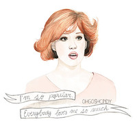 Molly Ringwald in the Breakfast Club Claire watercolour portrait PRINT
