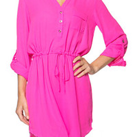 Pink V-neck Long Sleeve Shirtwaist Mini Dress with Drawstring