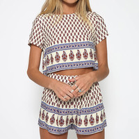 Women Fashion Geometric Printed Short Sleeve Crop Top Tee Crewneck Blouse Shorts Two Piece Outfit Sets White/Beige vestidos