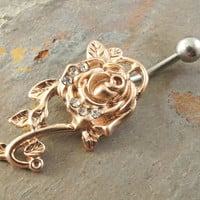 Copper Rose Flower Belly Button Jewelry Ring
