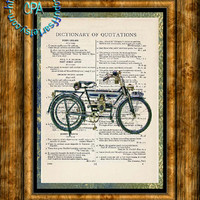 1910 Douglas Model HD Motorcycle Art - HDR & Graphic - 2 Print Special - Vintage Dictionary Page Art Print Upcycled Page Print