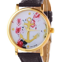 Black Nautical Anchor Floral Watch