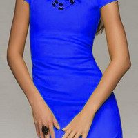 Blue Short Sleeve Bodycon Dress