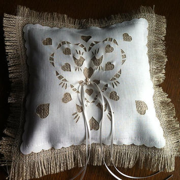 Burlap Ring bearer pillow with freshwater pearls and love bird motif