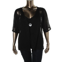 JM Collection Womens Plus Sheer Knit Cardigan Sweater