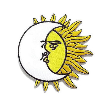 Moon & Sun Art New Iron On Patch Embroidered Applique Size 7.9cm.x8.3cm.