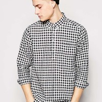 ASOS Shirt In Long Sleeve With 3/4 Placket And Lightweight Mini Buffalo