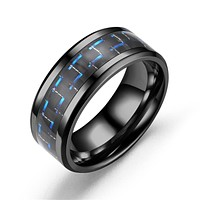 Black Stainless Steel Ring Brushed Tungsten Ring Blue Carbon Fiber Ring Engagement Jewelry Gift