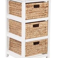 Office Star Seabrook Three-Tier Storage Unit With White Finish and Natural Baskets [SBK4513A-WH]