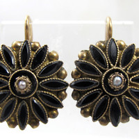 Victorian Mourning Earrings, 10K Yellow Gold Black Jet, Seed Pearl Pierced Wire Hook Mourning Jewelry