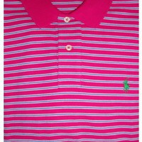 Men's Polo By Ralph Lauren Polo Shirt Short Sleeved Pink, Blue & White Striped w/ Green Pony (Small)