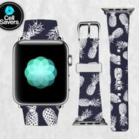 Navy Blue Pineapple Pattern White Outline Trendy Cute Apple Watch Band Leather Strap iWatch for 42mm and 38mm Size Metal Clasp Watch Print