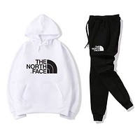The North Face Women Men Fashion Casual Letter Pattern Print Long Sleeve Trousers Set Two-Piece Sportswear