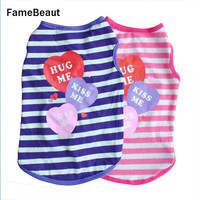 2016 Hot Sale Cute Pet Puppy Cotton Striped Dog Vests Clothes Angel Pattern T-shirt Shirt Coat High Quality Small Dog Clothes